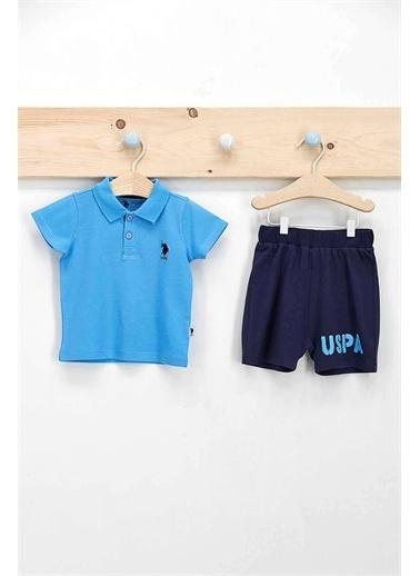U.S. Polo Assn. Lisanslı Mavi Erkek Bebek Dik Yaka T-Shirt Takım Mavi